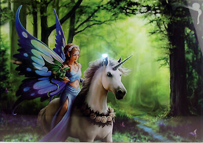 Realm of Enchantment Fairy Unicorn Forest Glass Wall Art 50cm Picture