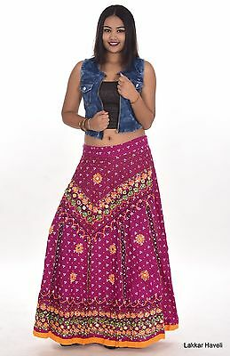 1f2e47bddf Indian Long Skirt Hippie Women Mirror work Embroided Plus size 100% cotton  pink