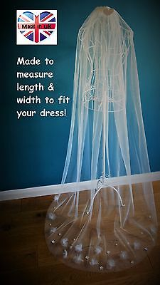 Wedding Veil *Chapel Length*1 Tier*Off white/ Ivory*Floral/Pearl/Crystal*