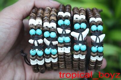 5 SHARK TOOTH Coconut Beads Artificial Turquoise Leather Bracelets Wholesale Lot