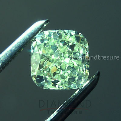 Sparkling 5.01 ct 10.60 mm Cushion Fancy Green Loose Moissanite VVS2
