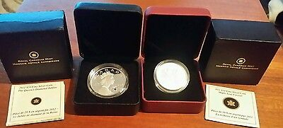 2x Silver Proof Canadian Coins - RARE 2012 silver £20 + 2011 silver $10