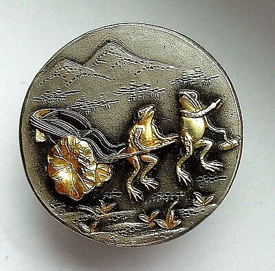 Japanese Shakudo Mixed Metal Button Frogs Pulling Lily Pad Cart - Mt Fugi Marked