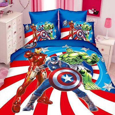 Spiderman Batman Cotton Kids Boys Bed Fitted Sheet Cover Twin Single Set