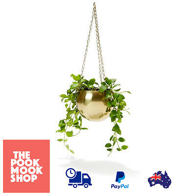 Hanging Garden Pot Plant​ Brass Plated Bowl Metal Planter Indoor Decor Hang Home