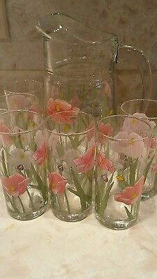 Beautiful Pitcher(1 3/4qt.) and 6 Glasses (8 oz.)Water Set Clear With Flowers