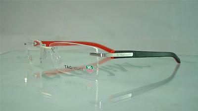 Tag Heuer TH 8109 002 Black & Red Rimless Glasses Eyeglasses Frames Size 56