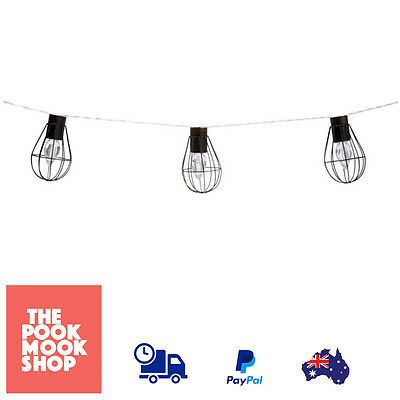 String LED Lights x10 Outdoor Light Solar Powered Hanging Metal Cage Decor