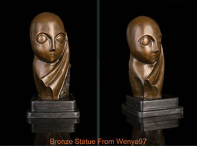 "Art Deco Sculpture ""Miss Pogany"" Abstract Woman Girl Bronze Statue Signed"