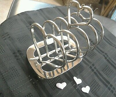 Superb quality vintage silver plate heart shaped toast rack. Valentine's day?!