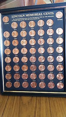 1959-1983 Unc Lincoln Memorial Cent Penny Set Framed Coin Collection Black Frame