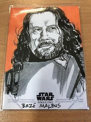 Star Wars Rogue One Series 1 Sketch Card By Brian Kong (Baze Malbus)