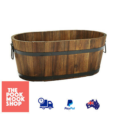 Rustic Wooden Barrel Pot Plant Garden​ Pots Planter Succulent Outdoor Home Decor