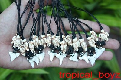 10 Shark Tooth Necklaces Sharks Teeth WHITE TURTLE Bone Beads Wholesale *
