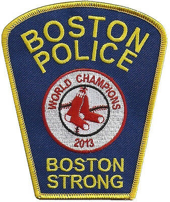 """Boston Police Dept Boston Strong Red Sox World Series 2013 Patch 4 5/8"""" x 3 7/8"""""""