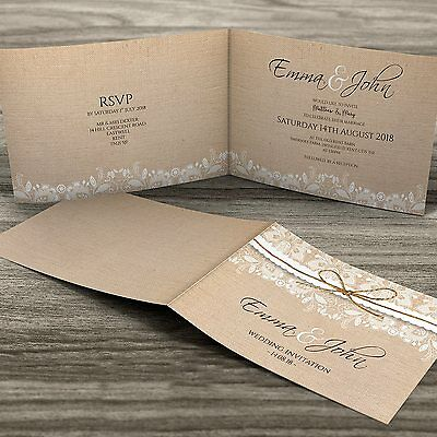 Premium Personalised Folded Wedding Evening or Day Invitations + Envelopes