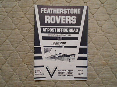 Featherstone V Dewsbury Rugby League Match Programme 1986