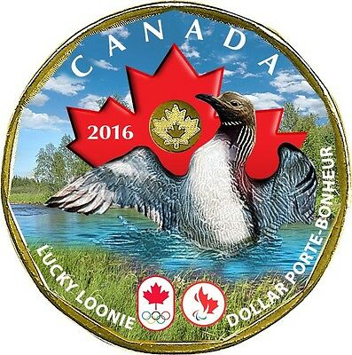 CANADA 2016 Olympic & Paralympic Games Coloured Lucky Loonie Plated Gold