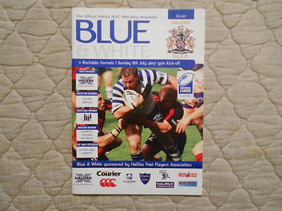 Halifax V Rochdale Rugby League Match Programme 2007