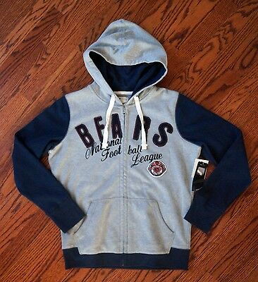 """NWT New NFL Team Apparel Chicago Bears Gray Blue Hoodie Jacket Womens L 42"""" Bust"""