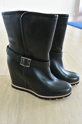 NEW UGG Women's Ellecia Leather Wedge Boots in Black Size 7