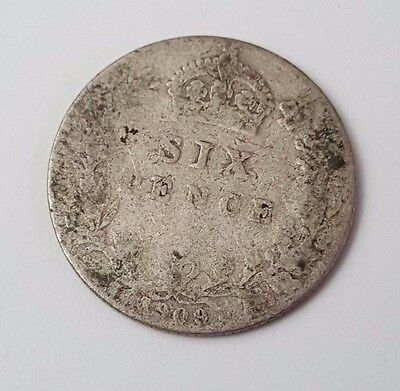 1909 - Silver - Sixpence - Great Britain - King Edward VII - English UK Coin