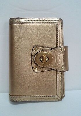 Coach Gold Metallic Leather Day Planner with Brass Turnlock