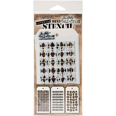 Tim Holtz Mini Layered Stencil Set 3/Pkg-Set #9 653341058416