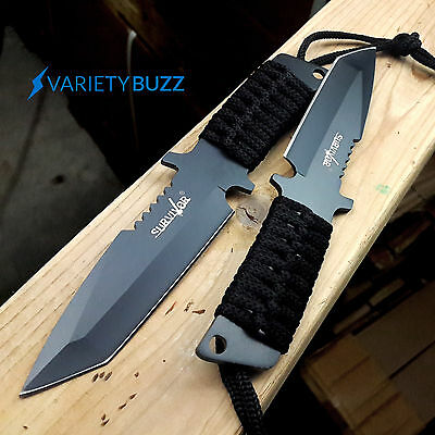 "x2 PCS 7"" TACTICAL COMBAT SURVIVAL Full Tang FIXED BLADE KNIFE Hunting w/ SHEATH"