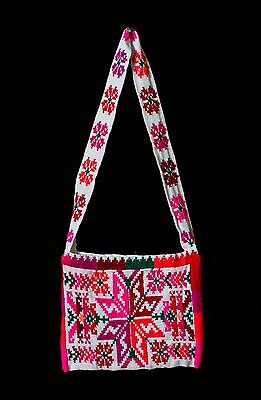 Hand Embroidered Bag With Star Fucsia, Pink Orange, Red Tones By Indigenous Tt14
