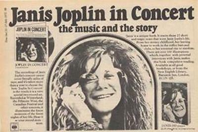 Janis Joplin In Concert LP advert Time Out cutting 1972
