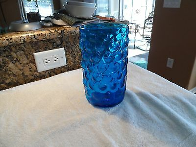 """Large Blenko Husted 6046 Turquoise Blue Bubble Wrap Textured Glass Vase 9.5"""""""