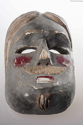 1950´s Vintage Mexican Dance Gray Mask Hand Carved Wood Used Mexican Folk Art