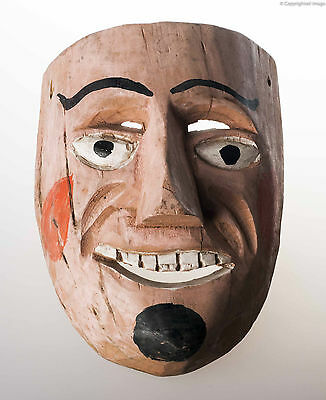 1980´s Vintage Mexican Dance Mask Hand Carved Wood Used Mexican Folk Art