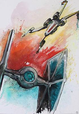 Pop Art -  Star Wars Rogue One - Tie Fighter - X-Wing - 100x70cm - handgemalt