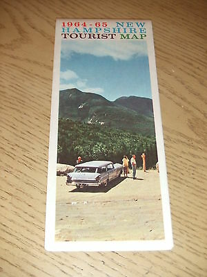 VINTAGE 1964 1965 OFFICIAL New Hampshire State Highway Road Map Nashua Laconia