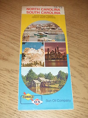 VINTAGE 1972 Sunoco DX Oil Gas North South Carolina State Highway Road Map NC SC