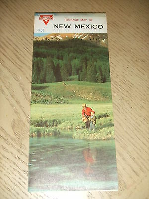 VINTAGE 1966 Conoco Oil Gas New Mexico State Highway Road Map Santa Fe Touraide