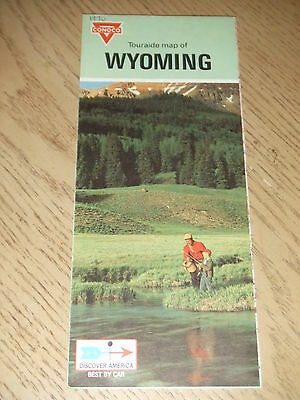 VINTAGE 1970 Conoco Oil Gas Wyoming State Highway Road Map Touraide Cheyenne WY