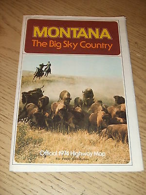 VINTAGE 1974 OFFICIAL Montana State Highway Road Map Great Falls Billings Helena
