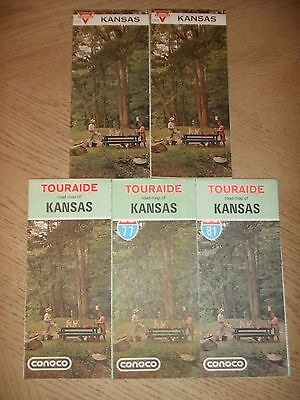 5 VINTAGE 1964 1965 1972 1977 1981 Conoco Oil Gas Kansas State Highway Road Maps