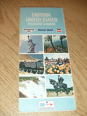 VINTAGE 1970 Standard Chevron Gas Oil Eastern United States Highway Road Map CAN