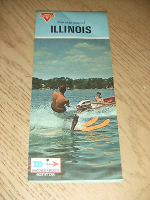 VINTAGE 1970 Conoco Oil Gas Illinois State Highway Road Map Touraide Rockford IL