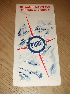 VINTAGE 1967 Pure Union 76 Oil Gas Delaware Maryland Virginia Highway Road Map