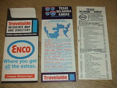 VINTAGE 1972 Enco Humble Oil Travelaide Kansas Texas Oklahoma Map Guide + Insert