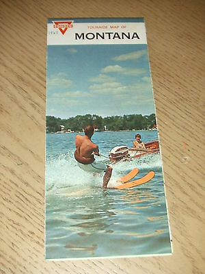 VINTAGE 1967 Conoco Gas Oil Montana State Highway Road Map Touraide Guide Butte