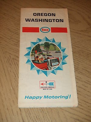 VINTAGE 1968 Enco Humble Oil Oregon Washington Highway Road Map Tiger Tour Guide