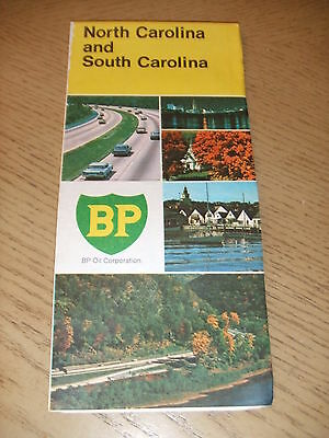 VINTAGE 1971 BP Oil Gas North South Carolina State Highway Road Map Durham Salem