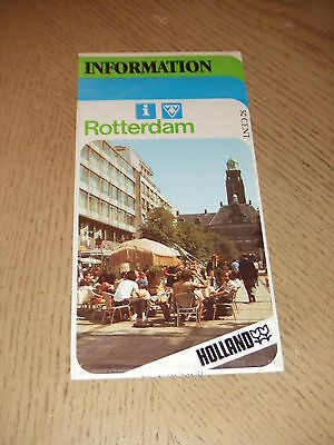 VINTAGE 1984 Rotterdam Holland City Tourist Guide Map IN GERMAN Netherlands