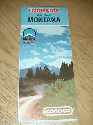 VINTAGE 1971 Conoco Gas Oil Montana State Highway Road Map Touraide Guide Butte